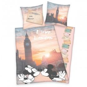 Obliečky Mickey a Minnie Londýn - 140x200, 70x90