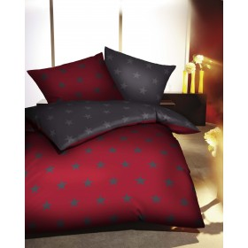 Flanelové povlečení Vánoční hvězdy rubín 140x200, 70x90