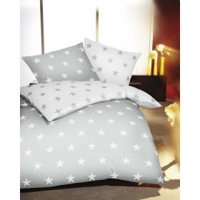 Flanelové obliečky Vánoční hvězdy stříbrné 140x200, 70x90