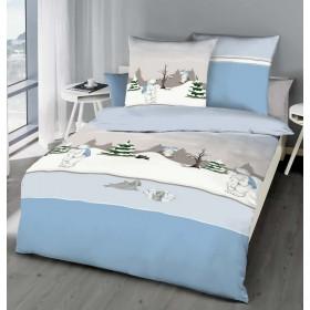 Flanelové obliečky Medvídek modrý 140x200, 70x90