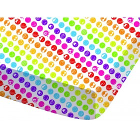 Prostěradlo Smiley Rainbow - 90x190/200 cm, 100% bavlna
