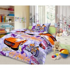 Obliečky Auta fialová - 140x200, 70x90, 100% bavlna