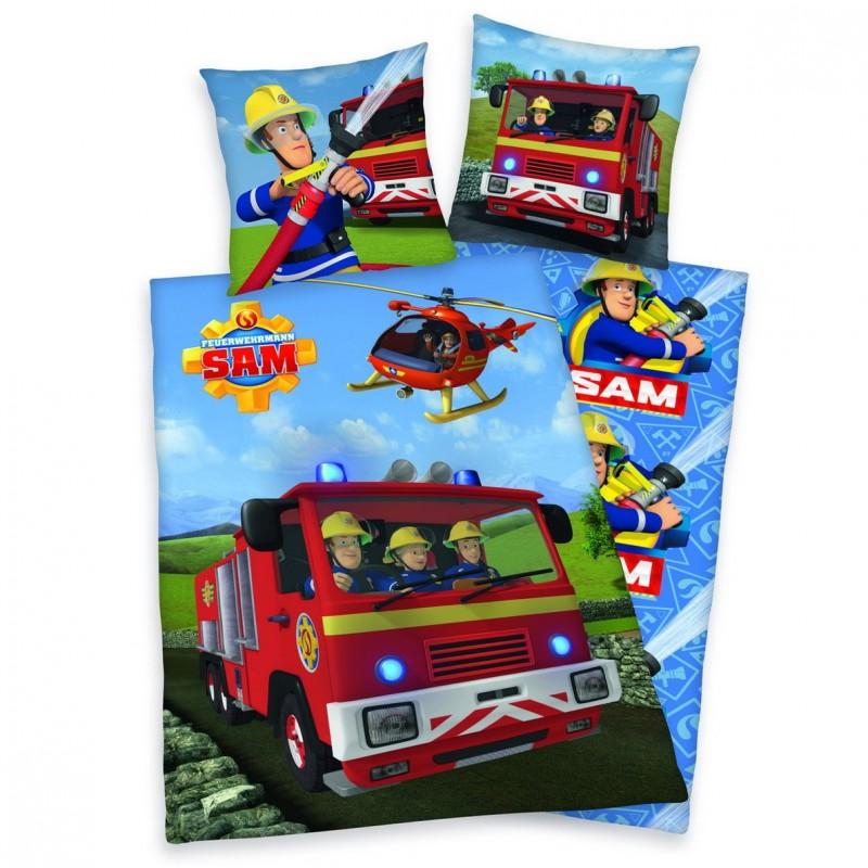 Flanelové obliečky Požárník Sam - hasičský vůz Jupiter 140x200, 70x90