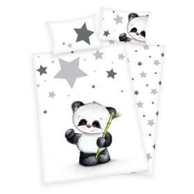 Obliečky do postýlky Panda a hvězdičky - 100x135, 40x60, 100% bavlna